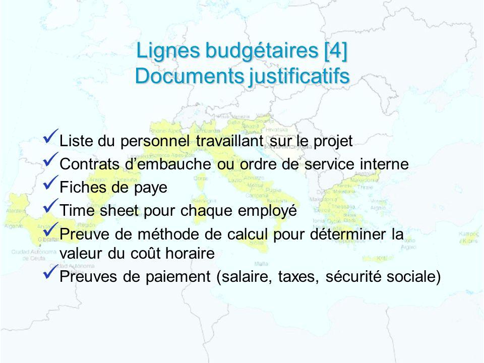 Lignes budgétaires [4] Documents justificatifs